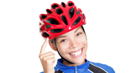 woman wearing a bicycle helmet