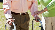 stroke patient using a walker
