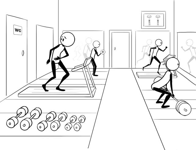 colon in treadmill closest to bathroom