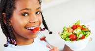 girl eating healthy foods