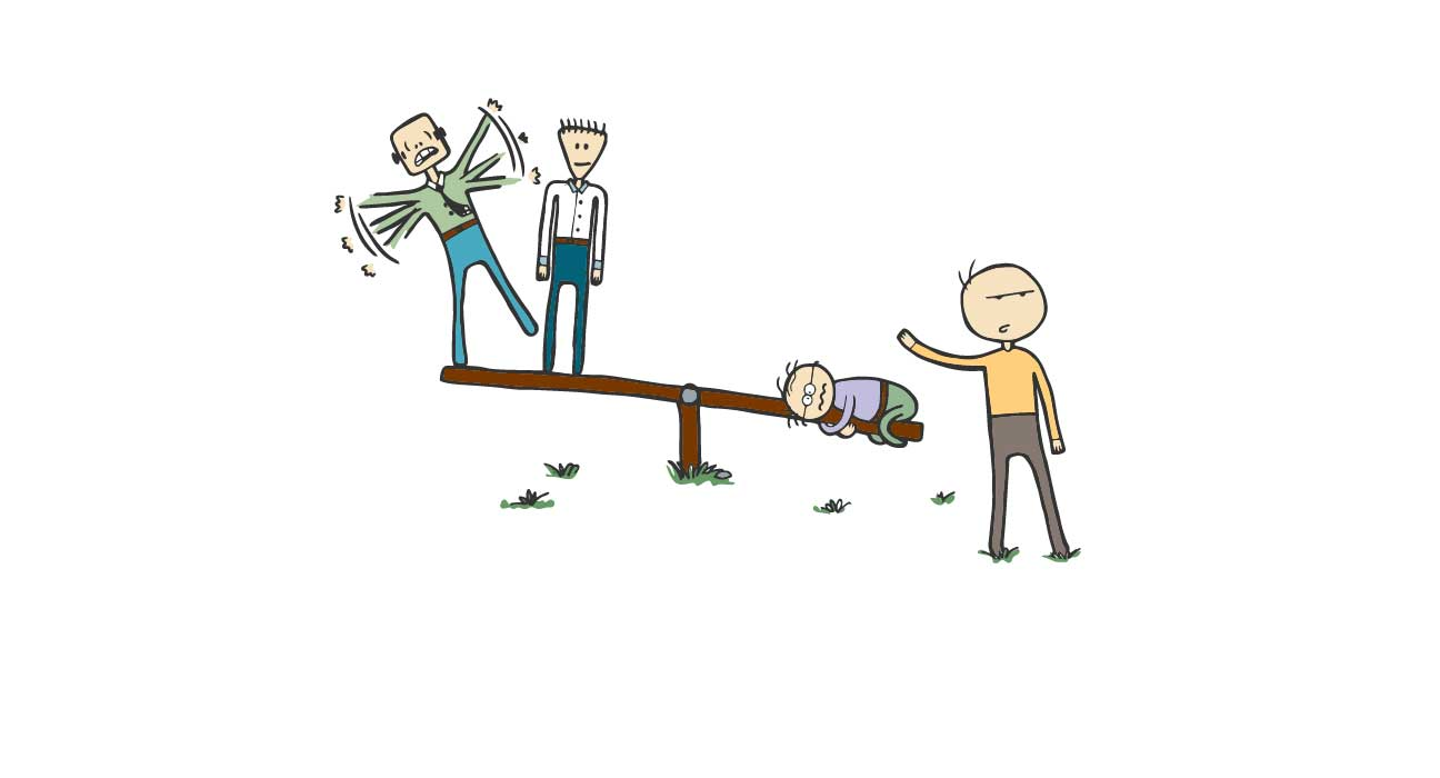 Man abandoning colleagues on see-saw