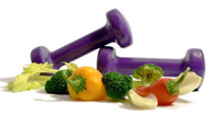 dumbbells and healthy foods