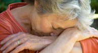 A woman with COPD suffering from isolation.