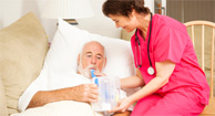 A man recently diagnosed with COPD gets treatment.