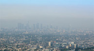 A city covered in smog.