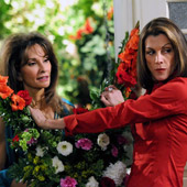 Wendie Malick and Susan Lucci || (L-R) Susan Lucci (playing herself) vs. nemesis Victoria Chase (Malick).