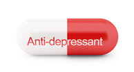 red and white anti-depressant pill
