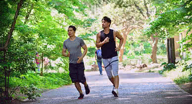 men jogging outside