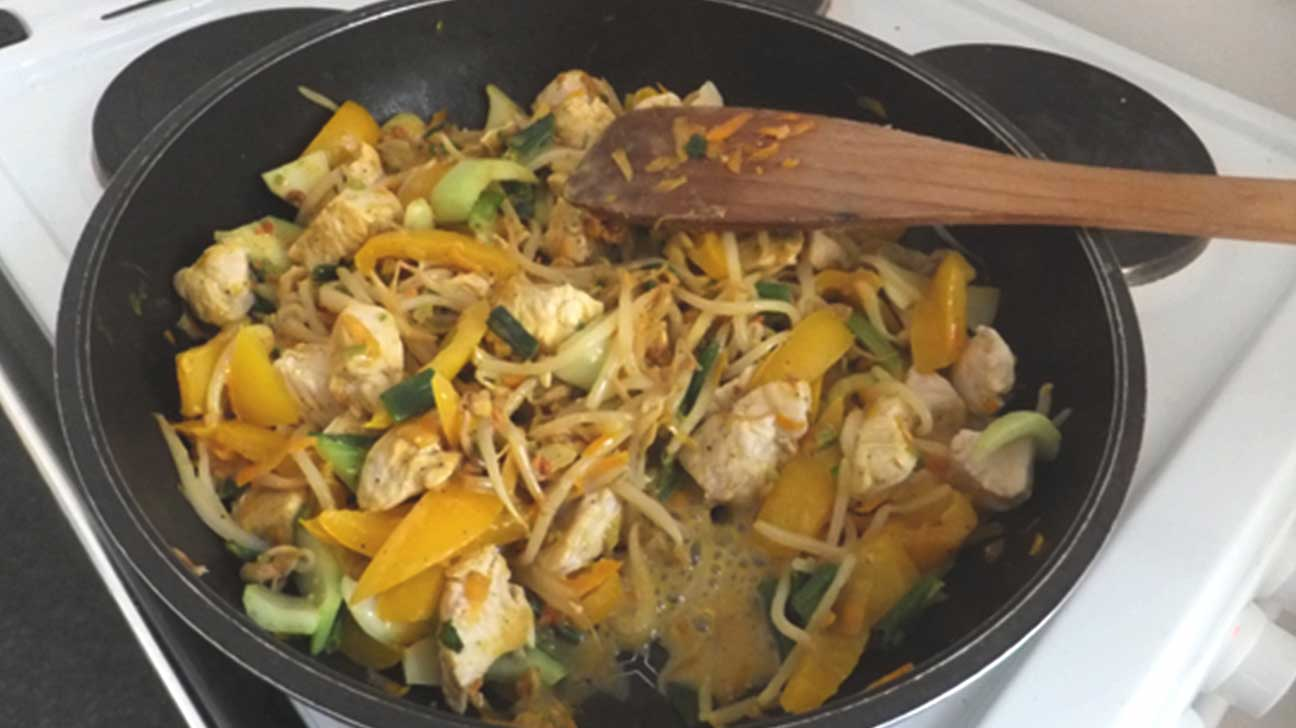 Chicken satay stir fry with rice noodles