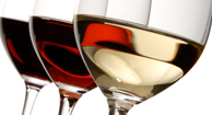 Wine glasses - red and white wine.