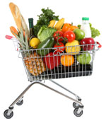 grocery cart filled with healthy fare