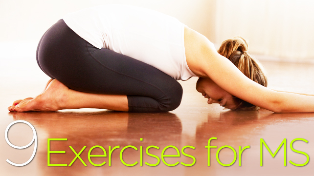 9 exercises for MS woman in yoga pose