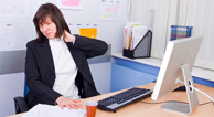 woman aching neck workplace