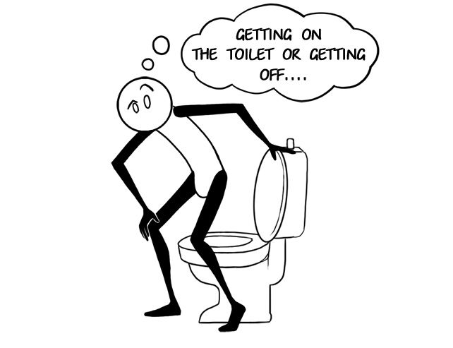 getting off the toilet