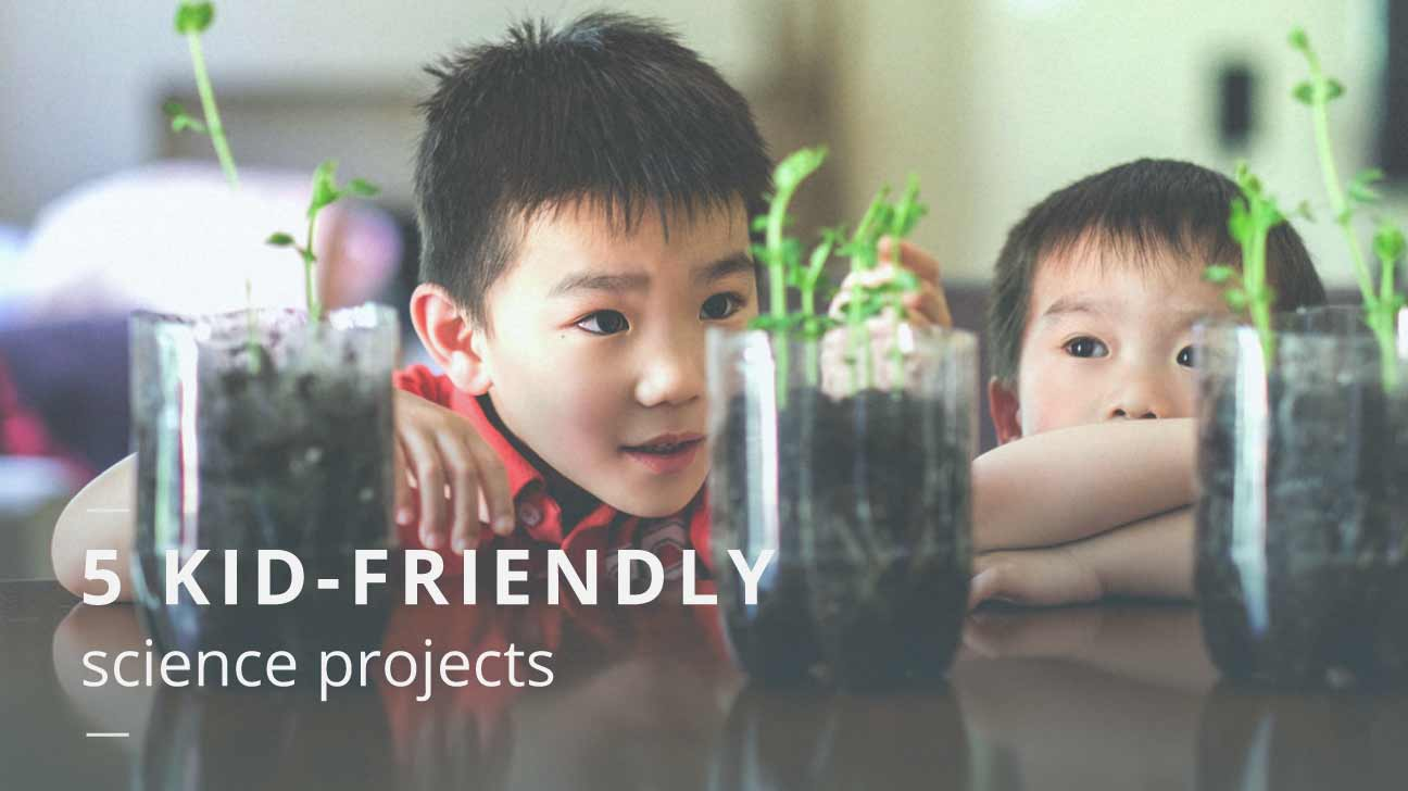 Kids with their plant projects