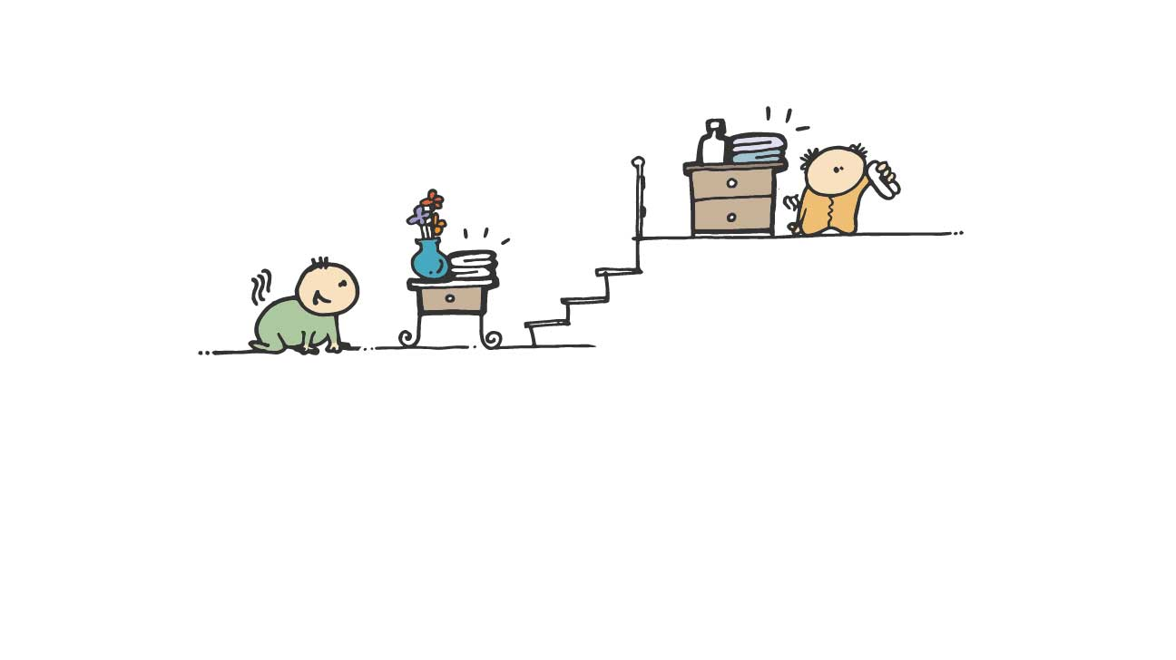 kids separated by stairs