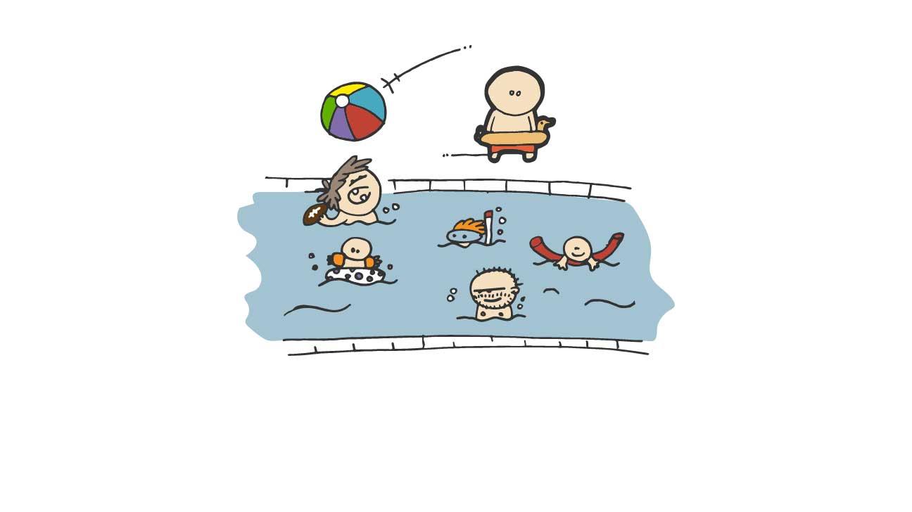 Crowded local pool