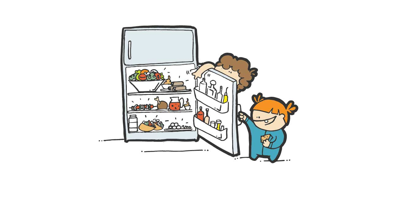 peeking into fridge