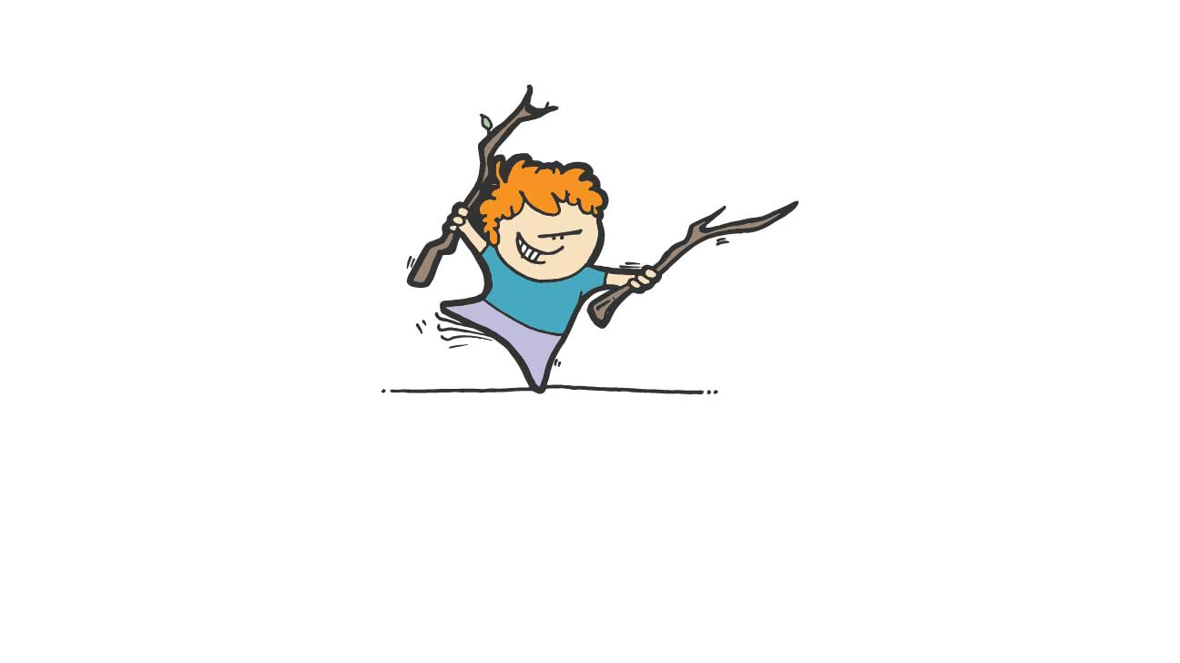 boy with sticks
