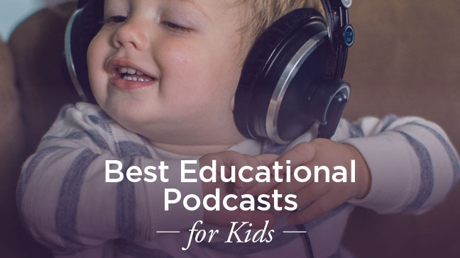child listening to podcasts