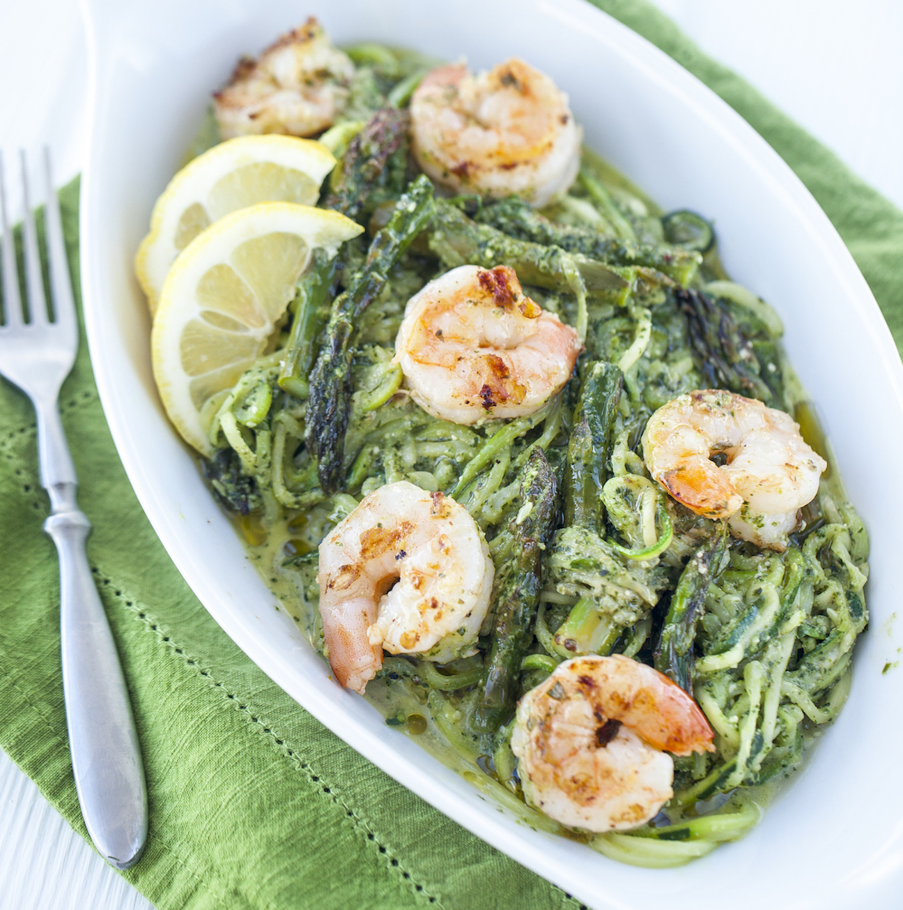 Pesto Zoodles with Grilled Shrimp