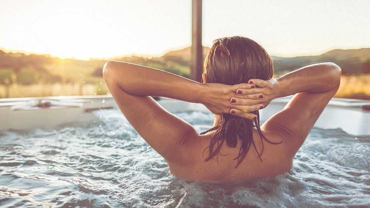 pregnant woman in hot tub
