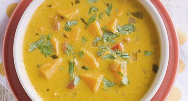 pimiento rojo asado y sopa de patata dulce para la psoriasis