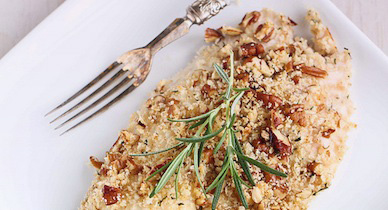 brazil nut crusted tilapia
