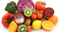 Fruits and vegetables for a diabetes-friendly diet.