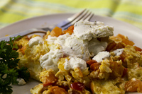 veggie and goat cheese scramble